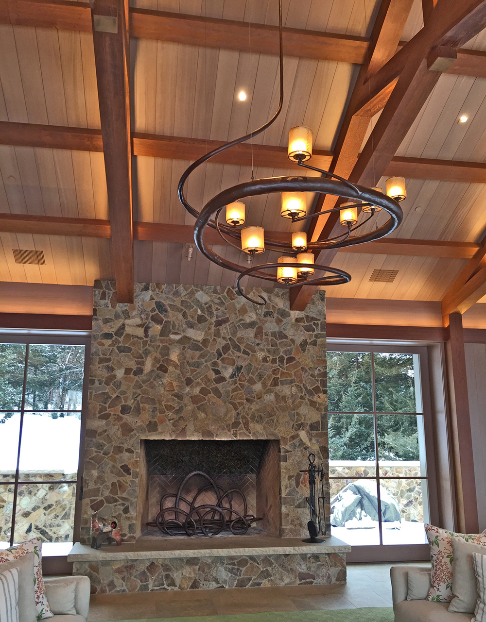 Fireplace chandelier